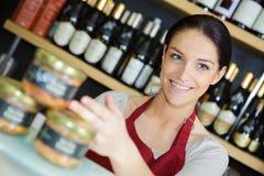 Happy female worker in shoo. Happy female worker in a shoo stock photos