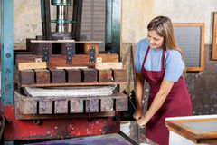 Happy Female Worker Using Paper Press Machine Royalty Free Stock Image