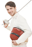Happy fencer with rapier foil Royalty Free Stock Image