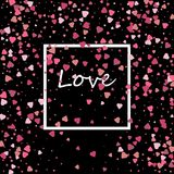 Happy festive design for Valentine`s day. Glitter pink heart on a black background with white frame, border. With the inscription love Royalty Free Stock Photos