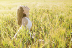 Happy in Field Royalty Free Stock Photography