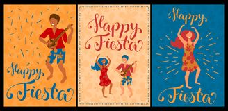 Happy Fiesta set of vector cards with dancing couple and lettering. Latina dance poster collection. stock illustration