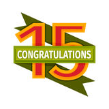 Happy fifteenth birthday badge vector icon. Birthday badge banner design flat. Celebration emblem anniversary card date paper sticker vector symbol. Invitation Stock Photography
