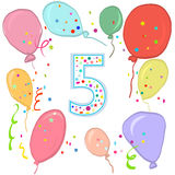 Happy fifth birthday. Colorful balloon greeting card. Background Stock Photography