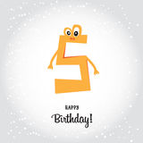 Happy fifth Birthday postcard. Orange number five and Happy Birt. Hday calligraphy lettering elements. Cartoon flat vector design. Simple holiday background Royalty Free Stock Image