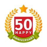 Happy fiftieth birthday badge vector icon. Birthday badge banner design flat. Celebration emblem anniversary card date paper sticker vector symbol. Invitation Royalty Free Stock Photography