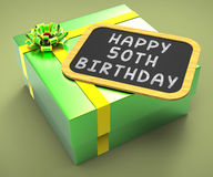 Happy Fiftieth Birthday Present Means Close. Happy Fiftieth Birthday Present Meaning Close Celebration Or Special occasion Royalty Free Stock Images