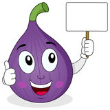 Happy Fig Fruit Character Holding Banner Stock Photography