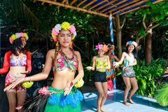 Happy filipino portrait dancing at Crystal Cove in Boracay Islan stock images