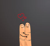 Happy finger couple concept. Fingers hugging and showing love isolated on gray background. Fingers represening a loving couple Stock Photo