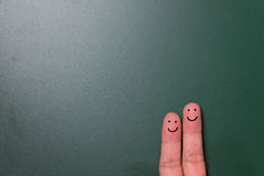 Happy finger couple Stock Photo