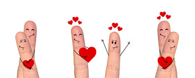 Happy finger couple in love celebrating Valentine's day. A happy couple in love celebrating Valentine's day Stock Photography
