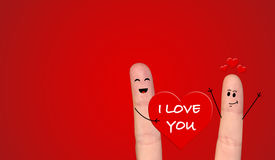 Happy finger couple in love celebrating Valentine day. A happy couple in love celebrating Valentine day Royalty Free Stock Image