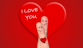 Happy finger couple in love celebrating Valentine day. A happy couple in love celebrating Valentine day Royalty Free Stock Photos