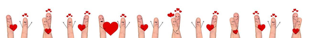 Happy finger couple in love celebrating Valentine day. Smiling and happpy finger couple in love celebrating Valentine day Royalty Free Stock Images