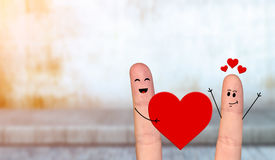 Happy finger couple in love celebrating Valentine day. Smiling and happpy finger couple in love celebrating Valentine day Stock Photos