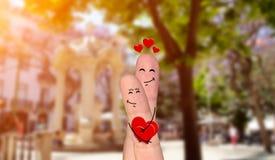 Happy finger couple in love celebrating Valentine day. Smiling and happpy finger couple in love celebrating Valentine day Stock Image