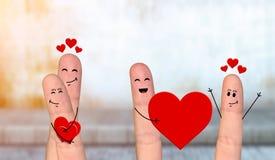 Happy finger couple in love celebrating Valentine day. Smiling and happpy finger couple in love celebrating Valentine day Royalty Free Stock Photography