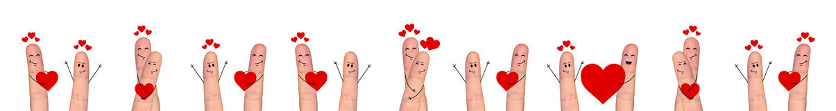 Happy finger couple in love celebrating Valentine day Royalty Free Stock Photos