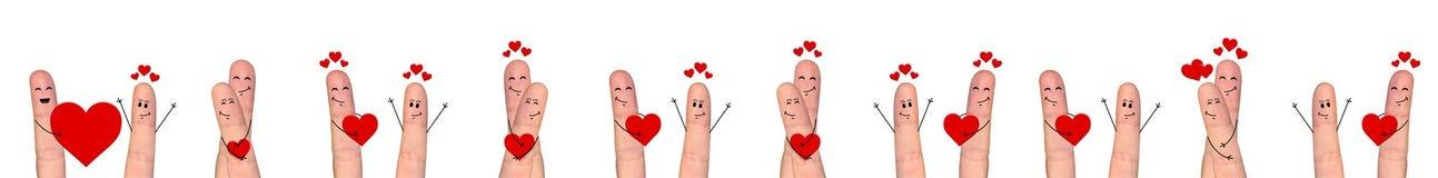 Happy finger couple in love celebrating Valentine day Stock Photo