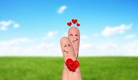 Happy finger couple in love celebrating Valentine day Stock Photography