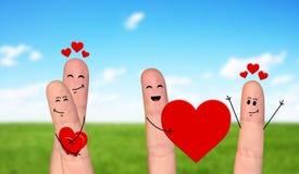 Happy finger couple in love celebrating Valentine day. Smiling and happpy finger couple in love celebrating Valentine day Stock Photo