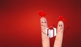 Happy finger couple in love celebrating Xmas Stock Photography