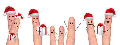 Happy finger couple in love celebrating Xmas Royalty Free Stock Images
