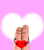 A happy finger couple in love Stock Images