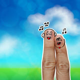 The happy finger couple in love Stock Photos