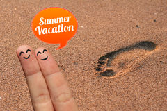 Happy finger couple on summer vacation Stock Photo
