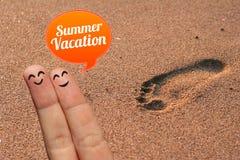 Happy finger couple on summer vacation Stock Photo