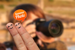 Happy finger couple on vacation with summer photo bubble Royalty Free Stock Photo