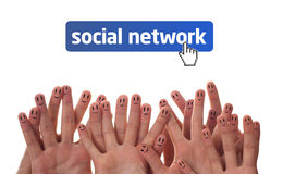 Happy finger faces as social network. Happy group of finger faces as social network Stock Photo