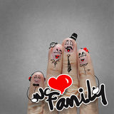The happy finger family holding family word Stock Photo