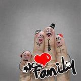 The happy finger family holding family word Stock Photo