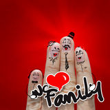 The happy finger family holding we love family word. On red background Stock Photo