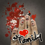 The happy finger family holding we love family word Stock Photo