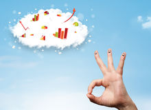 Happy finger smiley with graph cloud icons in the sky Stock Photography