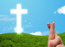 Happy finger smileys with christian religion cross Royalty Free Stock Photos