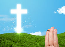 Happy finger smileys with christian religion cross Royalty Free Stock Image