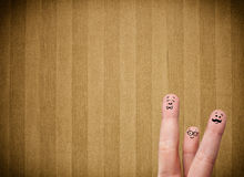 Happy finger smileys with vintage stripe wallpaper background Stock Images
