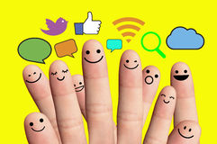 Free Happy Finger Smileys With Social Network Sign. Stock Image - 40181761