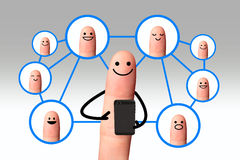 Happy finger, Social network concept, isolated with clipping pat. Happy finger using mobile phone with social network people Stock Photography