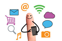 Happy finger using smart phone for online,  isolated with clippi Stock Image