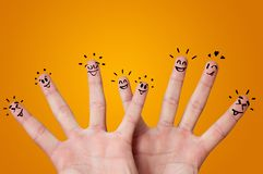 Happy fingers with brainstorming concept stock photos