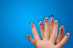 Happy fingers with brainstorming concept royalty free stock photos