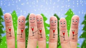 Happy fingers and christmas Royalty Free Stock Image