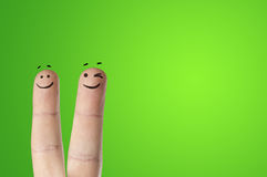 Happy fingers. On colored background royalty free stock image
