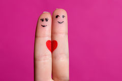 Happy fingers couple in love Stock Photos